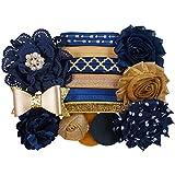 Navy & Gold Sparkle – Mini DIY Headband Kit – Makes 6 Headbands – Baby Shower Headband Station – Fashion Headbands for Birthday Party & Baby Shower Games