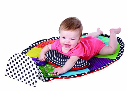 Sassy Tummy Time Playmat 0+ Months Perfect For Tummy Time With Contrasting Colors, Large Discovery Mirror, and A Cushioned Bolster To Provide Safe and Steady Support