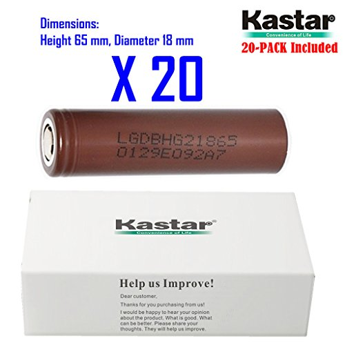 Kastar 18650 (20-PACK) LGDBHG21865 High Drain (35A Max. current load) Lithium-ion Battery, HG2 3.6V 3000mAh Rechargeable Flat Top for Electric Tools, Toys, LED Flashlights and Torch ect. by Kastar