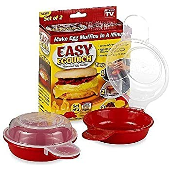 As Seen On TV TSR720 Easy Eggwich Microwave Egg Cooker, Red and clear
