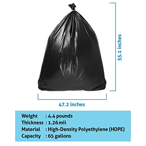 Duty Trash Bag | 50 counts 65 gallons Capacity Heavy-Duty 1.5 mil Thickness No Leak or Tear Weatherproof Low-Density Can Liners | 47'' x 55'' HDPE Puncture-Resistant Black Garbage Bag | 1580 by Big Bag Trash (Image #5)
