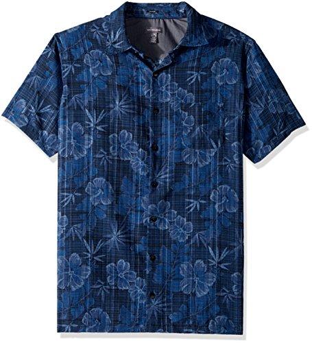 Van Heusen Men's Tall Size Big Oasis Printed Short Sleeve Shirt, Blue/Black Iris, (Big And Tall Silk Shirts)