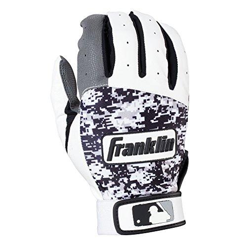 Franklin Sports Adult MLB Digitek Batting Gloves, Adult Large, Pair, Grey/White/Black Digi