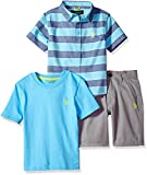 U.S. Polo Assn. Toddler Boys' Sleeve Shirt, T-Shirt and Short Set, Striped Woven Solid Crew Neck Tee Coast Azure, 3T