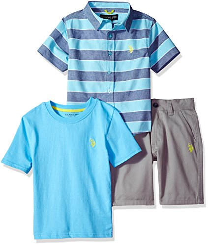 U.S. Polo Assn. Boys' Toddler Sleeve, T-Shirt and Short Set, Striped Woven Solid Crew Neck Tee Coast Azure, 2T (Sleeve Woven Shirt)