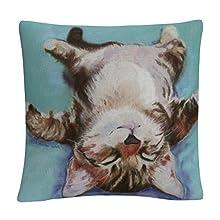 "Trademark Fine Art PS005-PIL1616 Pat Saunders-White 'Little Napper' 16"" X 16"" Decorative Throw Pillow, Multicolor"