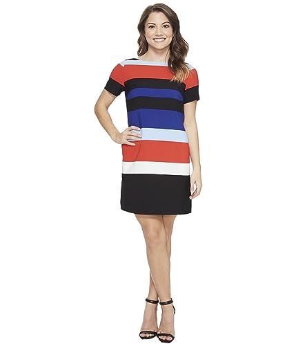 Tahari by ASL Petite Womens Petite Block Stripe Shift Dress
