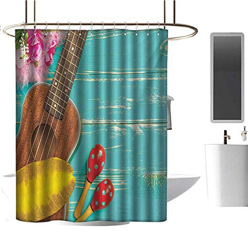 TimBeve Camper Shower Curtain Music,Ukulele with Hawaii Style Background Wooden Classical Vacation Stylized,Aqua Yellow Red Brown,Hand Drawing Effect Fabric Shower Curtains Odorless 47