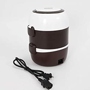 2L 110V 200W 3Layers Electric Lunch Box, Portable Heated Bento Lunch Box Steamer Pot Food Warmer Container Rice Cooker Travel Warm Keeper USA STOCK