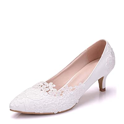 Dress First Women Low Heel Closed Toe Pumps Pointy Wedding Bridal Shoes with Stitching Lace | Pumps