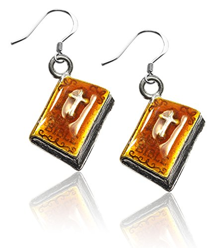 Whimsical Gifts Religious Charm Earrings (Holy Bible, Silver)