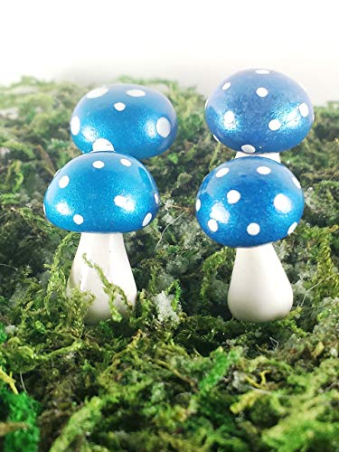 Fairy garden miniature mushrooms. Set of 4 blue mushrooms. Vibrantly colored with mica powders.