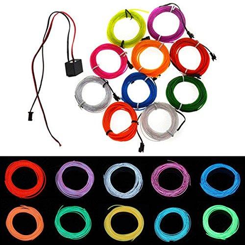 2M 10 Colors 12V Flexible Neon EL Wire Light Dance Party Decor Light ( Orange - Colours Collection Eyeglasses