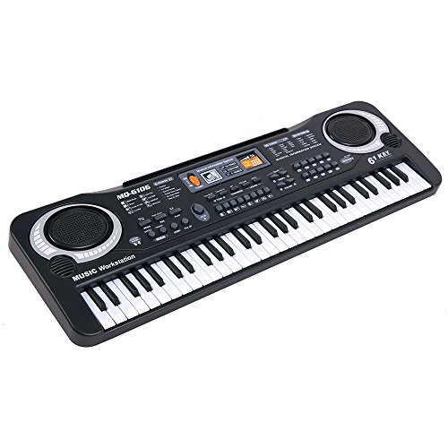 Boshen 61 Delicate Keys Electronic Keyboard Portable Digital Piano for Kids Children Early Education with Microphone, Power or Battery Supply (Best Digital Piano For Kids)