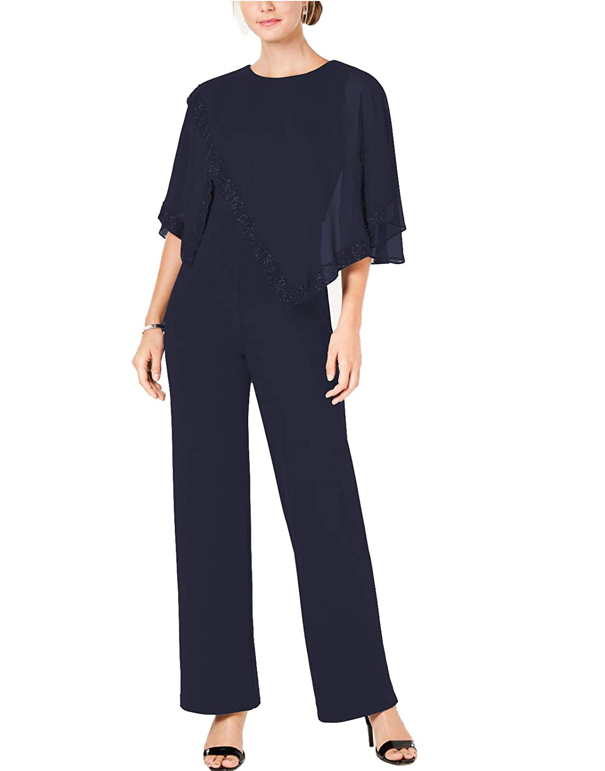 Navy bluee Fitty Lell Women's 2 Pieces Mother of The Bride Pants Suits with Beaded Cape