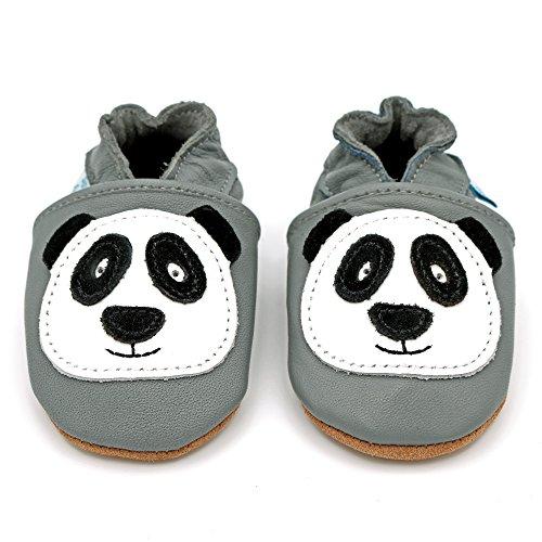 Dotty Fish - Zapatos de cuero suave para bebés - Niños y Niñas - Animales Panda gris