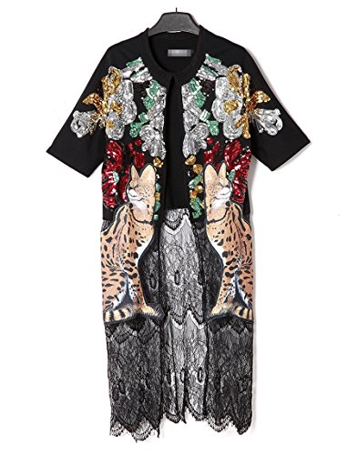 Flowertree Women's Cat-tiger Print Sequined Short Sleeves Kimono Jacket Black (M) by flowertree