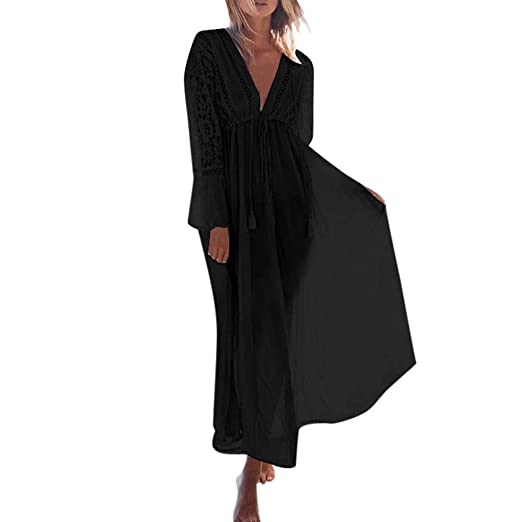 700b6c145c TANLANG Women Elegant Beachwear Flying Skirt Turkish Kaftans Long Swimsuit  Cover up Caftan Beach Dress Black