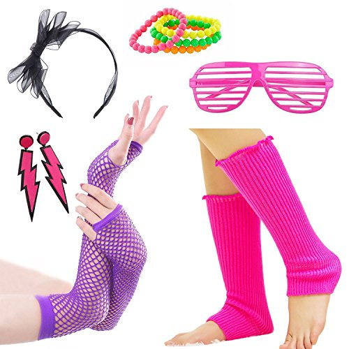 Womens 80s Costume Accessories Fancy Dress for 1980s Party Supplies (A7)