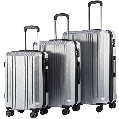 Coolife Luggage Expandable Suitcase PC+ABS 3 Piece