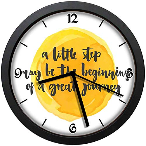 luckY-zm Positive Saying with Watercolor Monochrome Background Brush StrokesSimple, Modern, Battery-Powered, Fun Personality Clock, Suitable for Bedroom Home - Large Wall Clock - 12 inches
