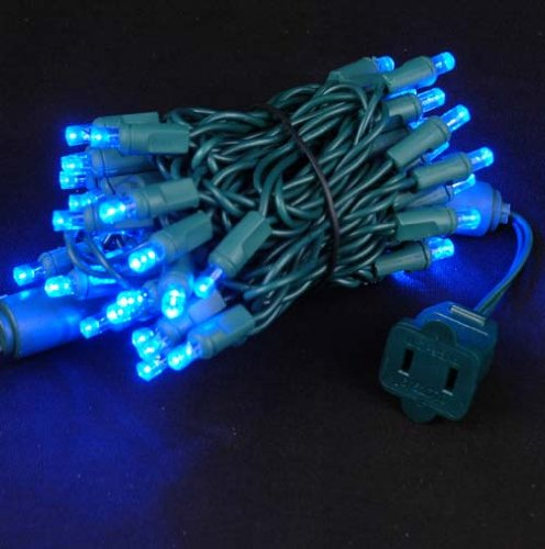 Novelty Lights 50 Light LED Christmas Mini Light Set, Outdoor Lighting Party Patio String Lights, Blue, Green Wire, 11 (Novelty Party Lighting)