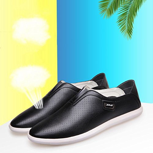 XIGUAFR Sandale Casual Homme Printemps Été Chaussure de Conduite en Cuir Doux de Trou Souple Noir o0CO6
