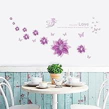 "ufengke® ""Happiness in Bloom"" Beautiful Hibiscus Flowers DIY Wall Decals, Living Room Bedroom Removable Wall Stickers Murals, Purple"