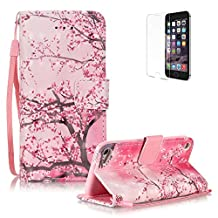 iPod Touch 5th/6th Generation Case Cover [with Free Screen Protector], Funyye Elegant Premium Folio 3D Patterns PU Leather Wallet Magnetic Flip Cover with [Wrist Strap] and [Credit Card Holder Slots] Color Painted Pattern Design Stand Case Cover for Apple iPod Touch 5th/6th Generation -Pink Cherry Tree
