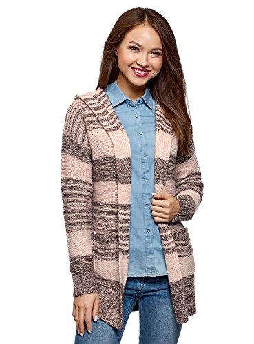 (oodji Ultra Women's Striped Hooded Cardigan, Pink, US 12 / EU 46 / XXL)