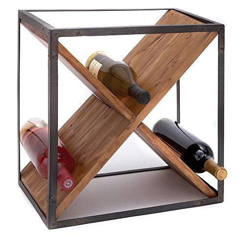 Woodland Imports Toulouse Cube Metal & Wood Wine Rack