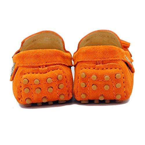 Tda Womens In Nappa Slip On Driving Driving Trail Running Mocassini Scarpe Da Barca Multi Color Arancione