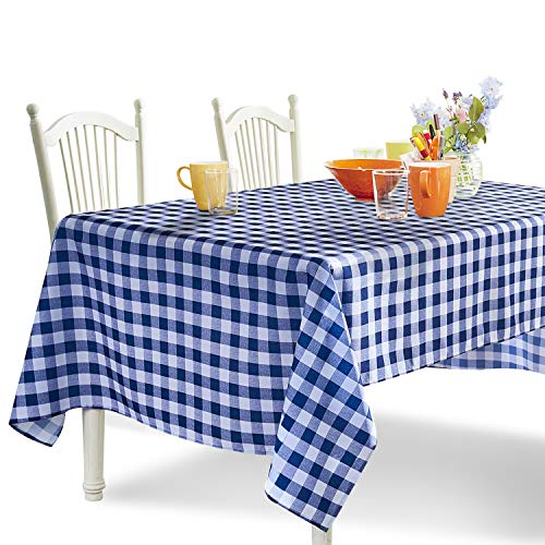 YEMYHOM 100% Polyester Spillproof Tablecloths for Rectangle Tables 60 x 104 Inch Indoor Outdoor Camping Picnic Rectangular Table Cloth (Dark Blue and White Checkered)