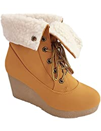 Crepe-10 Womens Lace Up All-Fur Lined Cuff Wedge Heel Fashion Ankle Boot