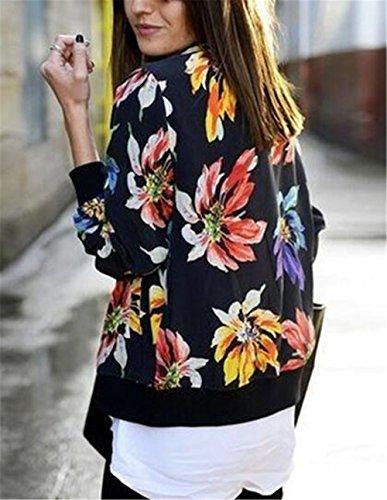 Cappotto Retro Elegante Jacket Stampate Manica Kerlana Donna Cappotti Black Cerniera Giacca Lunga Fiori Giacche g44ITq1x