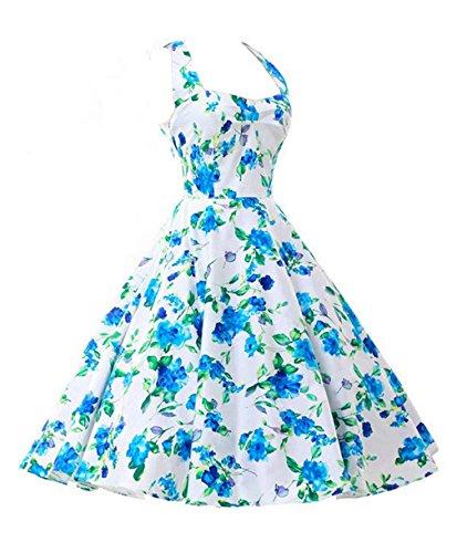 77eca8e10b8ee7 iHAIPI - Damen Retro Vintage Kleid Abend Party 50er Jahre Stil Rockabilly /  Sommerkleid/Cocktailkleid