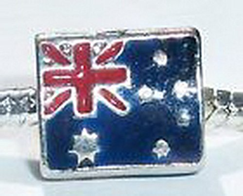 Beads Hut - Australian Flag of Australia Red Blue Enamel Bead fits European Charm Bracelets (Aussie Flag Dress)