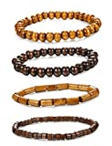 ORAZIO 4Pcs Wooden Beaded Bracelet Leather Braided Bangle for Men and Women Elastic 5-8MM Beads