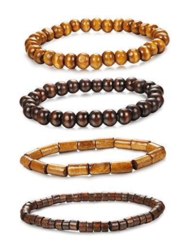 ORAZIO 4Pcs Wooden Beaded Bracelet Leather Braided Bangle for Men and Women Elastic 5-8MM Beads -
