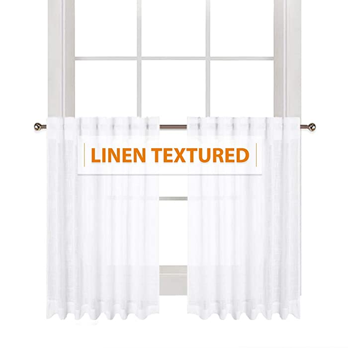 "RYB HOME Linen Wave White Sheer Curtains Semi- Voile with Textured Pattern Half Window Drapes for Cafe Tiers, Small Window Covering for Kitchen/Nursery, Wide 52"" x Long 36"" Per Panel, 2 Panels"