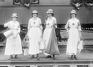 early 1900s photo Red Cross workers near train Vintage Black & White Photogra c7