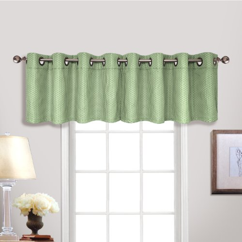 United Curtain Hamden Woven Waffle Grommet Valance, 54 by 18-Inch, Sage