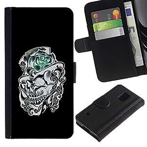 All Phone Most Case / Oferta Especial Cáscara Funda de cuero Monedero Cubierta de proteccion Caso / Wallet Case for Samsung Galaxy S5 V SM-G900 // Rose Top Hat Black White Skull Flower