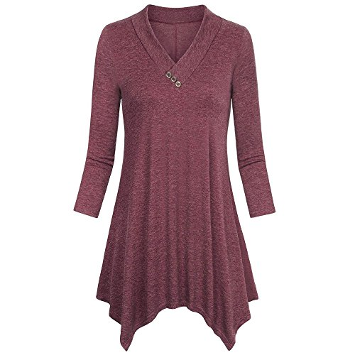 Blouse For Women-Clearance Sale,Farjing Three Quarter Sleeve Irregular Hem Tops Casual Flare Tunic Blouse Shirt(US:6/M,Wine) by Farjing