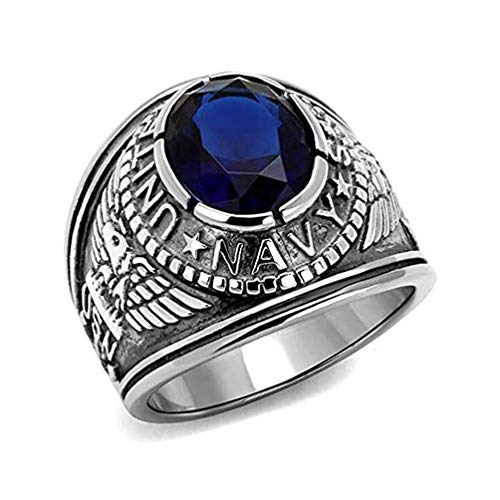 US Navy Ring - (Silver Color w/ Blue Stone) USN Military Rings Jewelry - Officers Military gear or U.S. Navy Seals Uniform Veteran Ring with flag decal emblem -