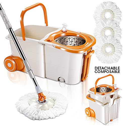360 Magic Spin Mop Bucket System with Wheels Microfiber Floor Mop and Stainless Steel Spinning Bucket Set with 3Pcs Microfiber Mop Pad