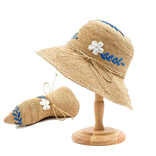 - Sun hat Lady Summer Raffia Hand Weaving Sunshade Straw hat Sunscreen Sun hat Fisherman Hat Bowknot Small Fresh Fashion Seaside Beach Vacation Summer hat (Color : Hand-Crocheted White Flowers