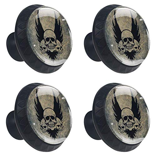 (4pcs Drawer Knob Pull Handle Awesome Skull Crossbones Wings Pulls Cupboard Knobs with Screws for Home Office Dresser Furniture Wardrobe Handles 35mm)