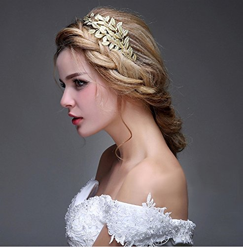 Greek / Roman Goddess Gold Leaf Crown Headpiece – Bridal Wedding Headband (Gold)