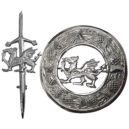(Celtic Welsh Dragon Kilt Pin & Brooch Chrome Finish 4